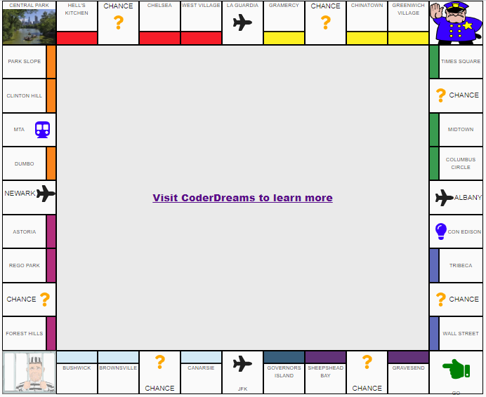 Themeable React Monopoly board